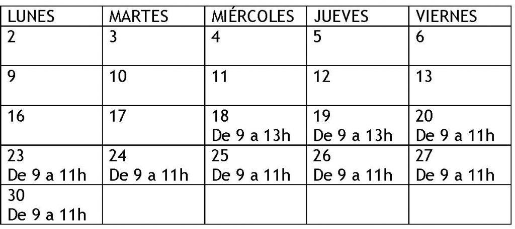 HORARIO INSTALACIONES DEPORTIVAS CAMPUS PONFERRADA